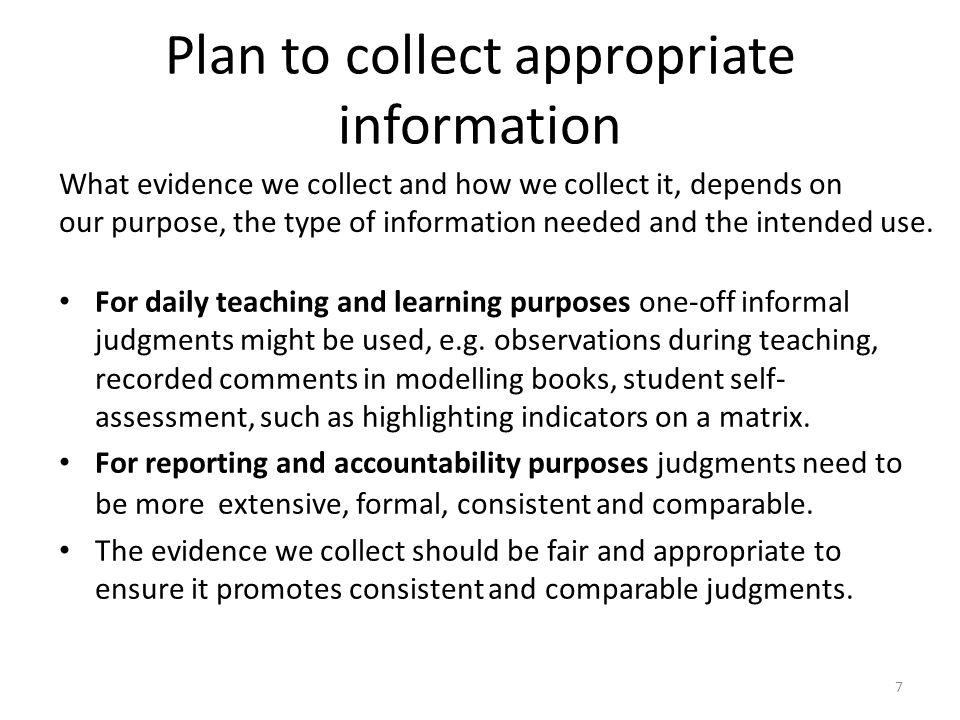 Plan to collect appropriate information