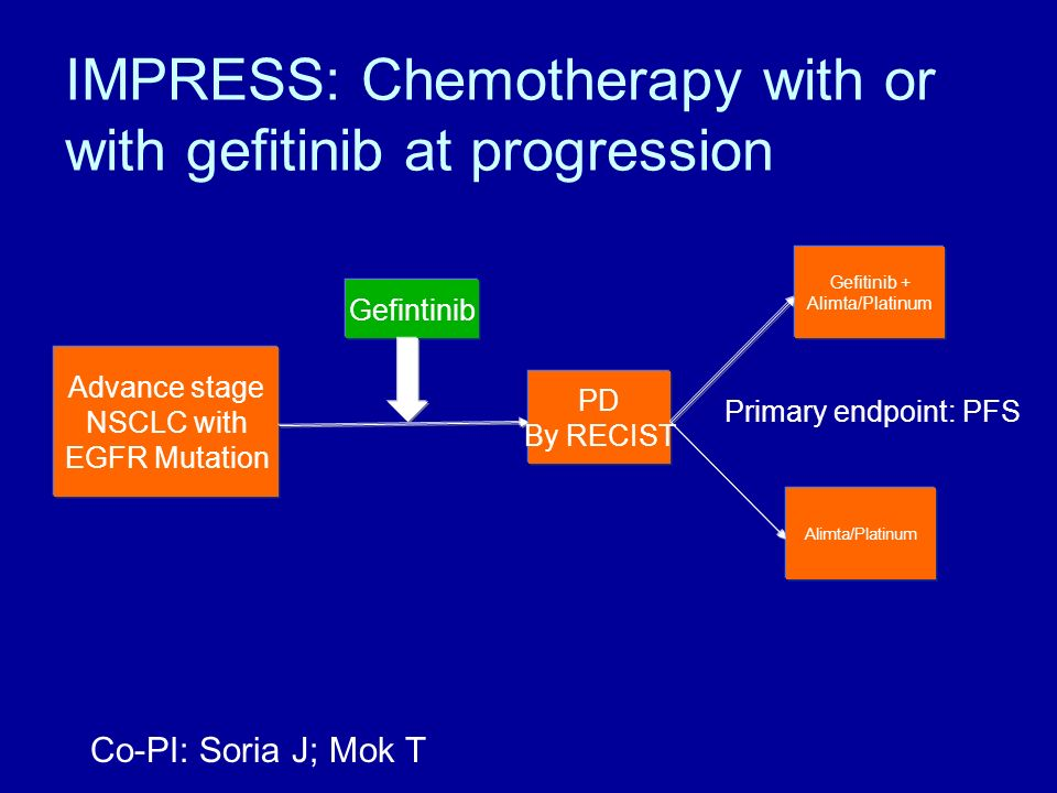 IMPRESS: Chemotherapy with or with gefitinib at progression