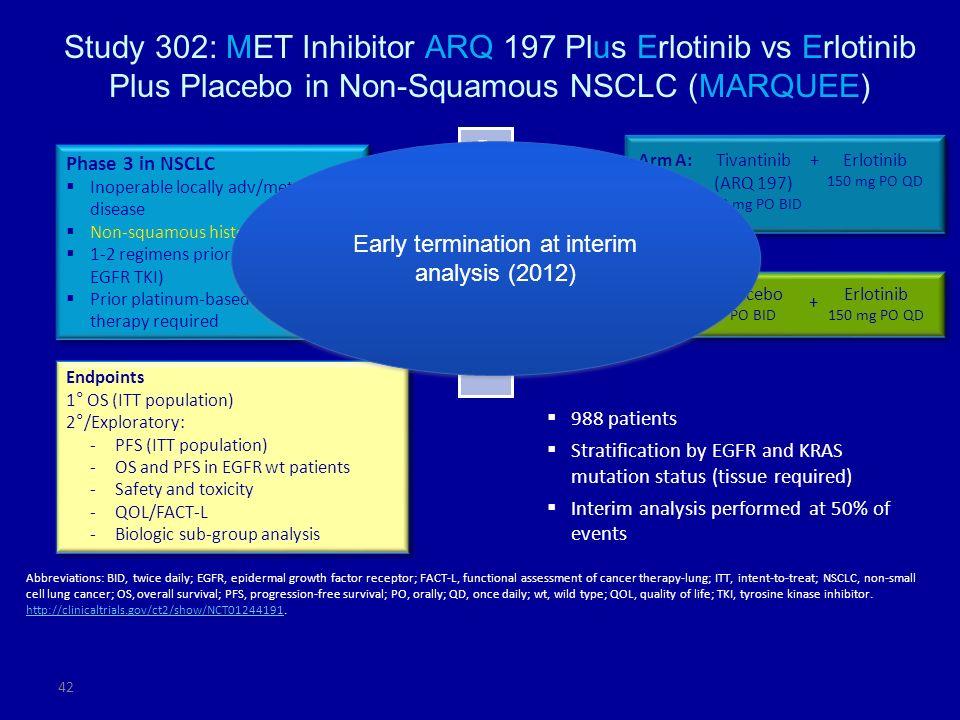 Study 302: MET Inhibitor ARQ 197 Plus Erlotinib vs Erlotinib Plus Placebo in Non-Squamous NSCLC (MARQUEE)