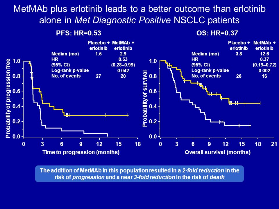 MetMAb plus erlotinib leads to a better outcome than erlotinib alone in Met Diagnostic Positive NSCLC patients