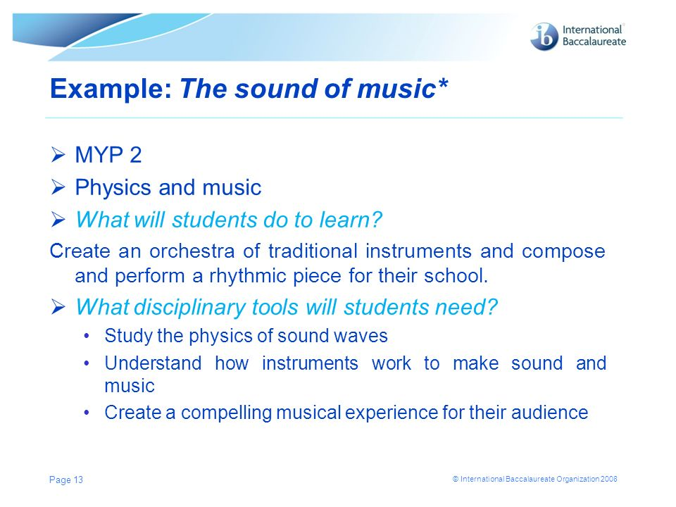 Example: The sound of music*