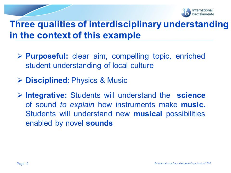 Three qualities of interdisciplinary understanding in the context of this example