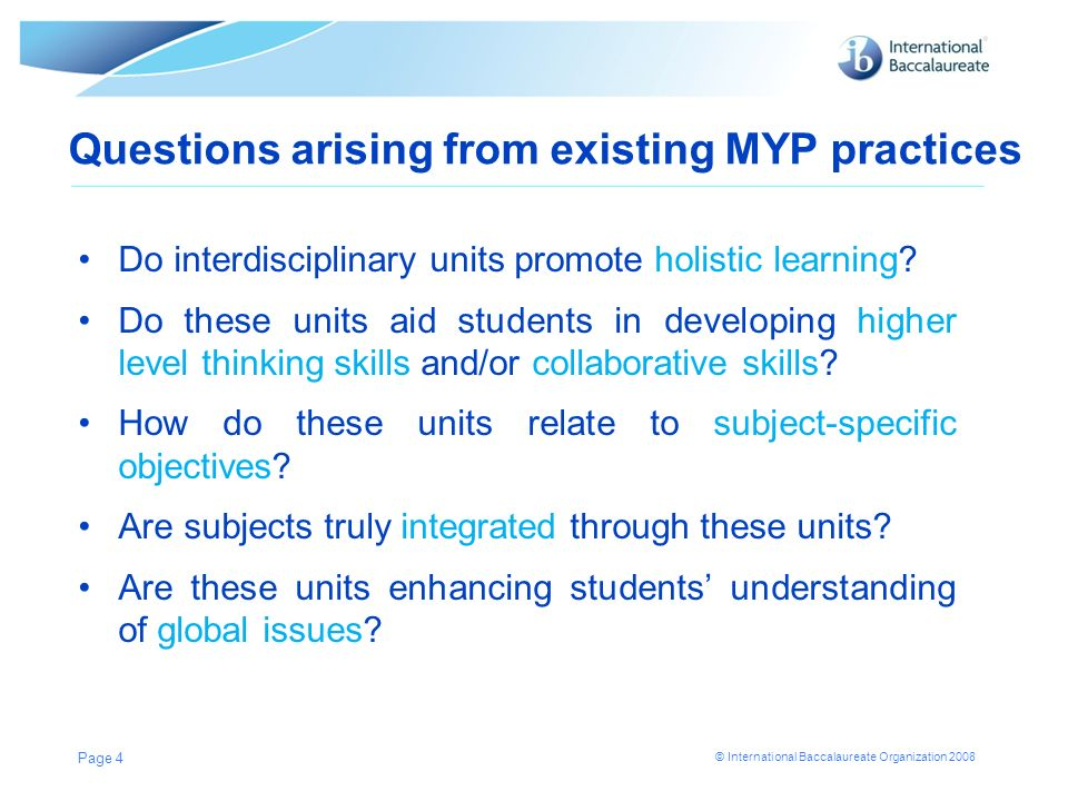 Questions arising from existing MYP practices