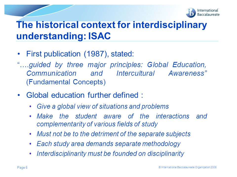 The historical context for interdisciplinary understanding: ISAC