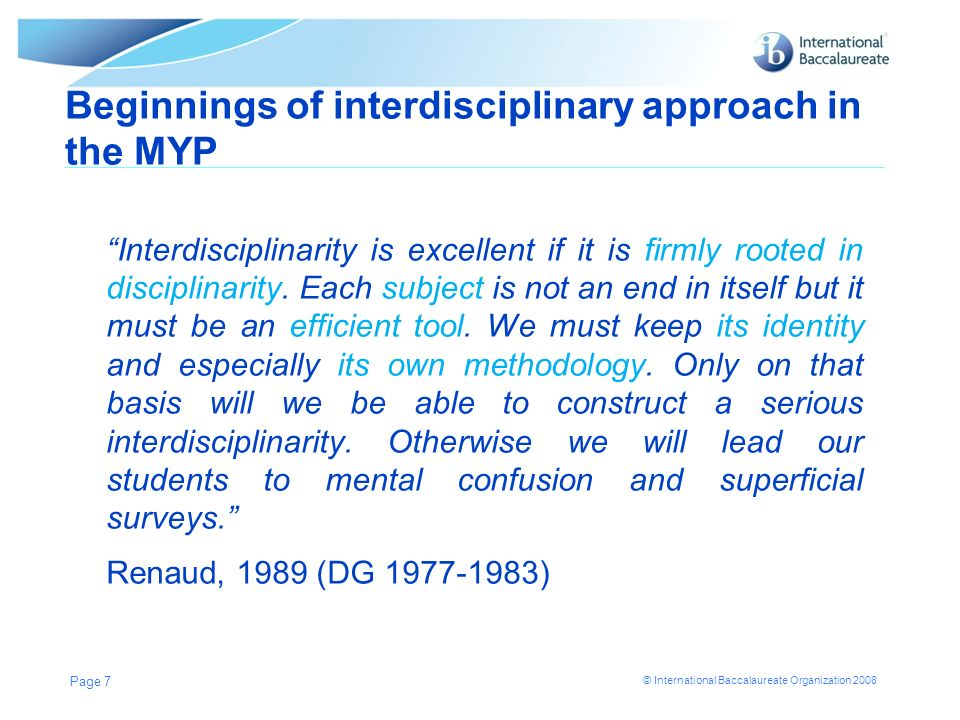 Beginnings of interdisciplinary approach in the MYP