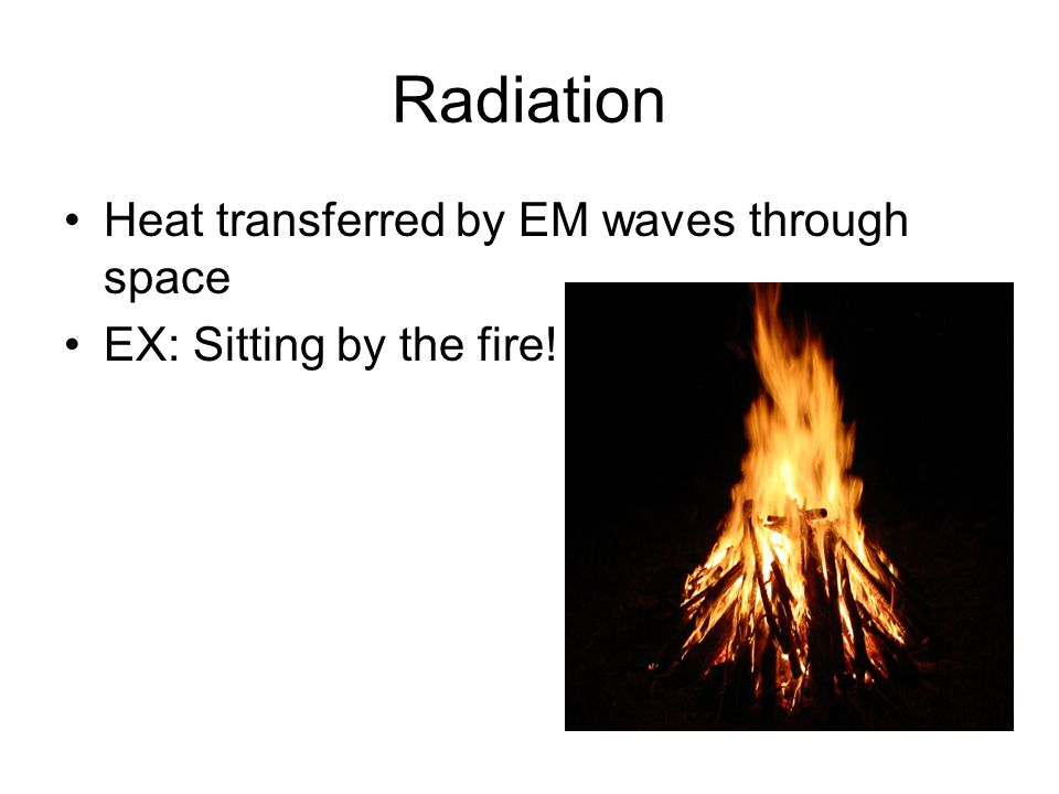 Radiation Heat transferred by EM waves through space