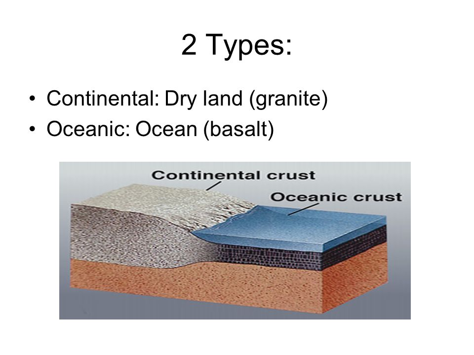 2 Types: Continental: Dry land (granite) Oceanic: Ocean (basalt)