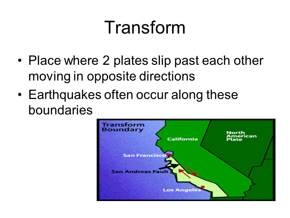 Transform Place where 2 plates slip past each other moving in opposite directions.