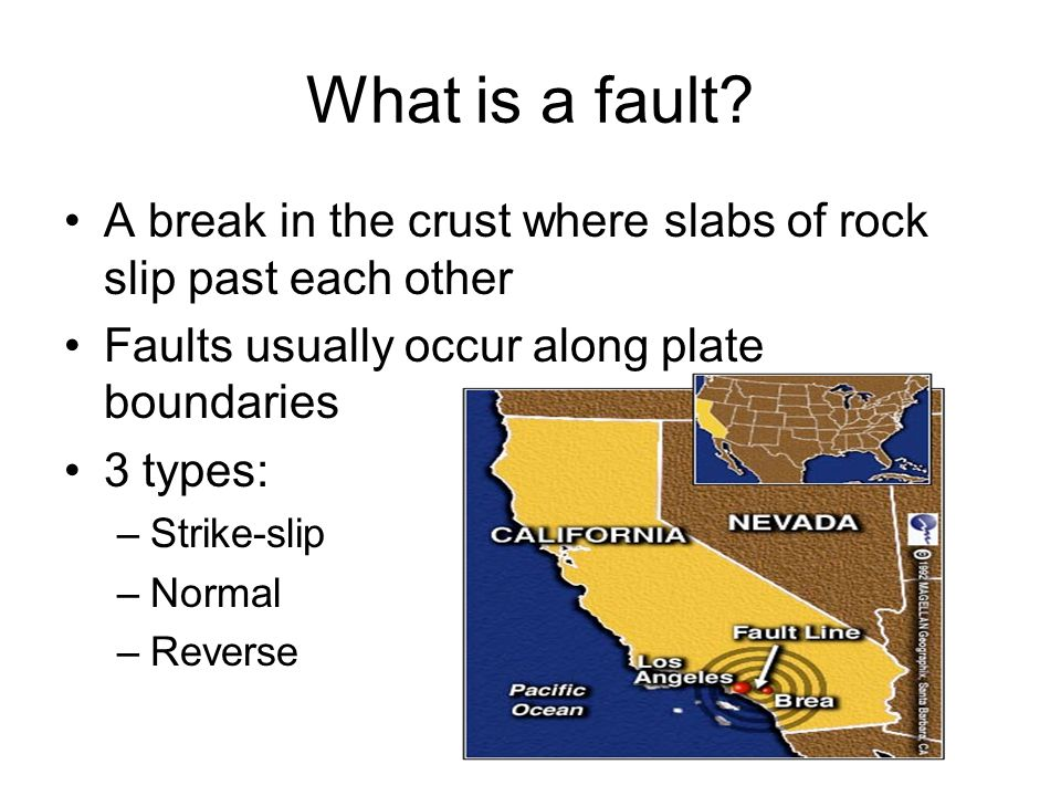 What is a fault A break in the crust where slabs of rock slip past each other. Faults usually occur along plate boundaries.