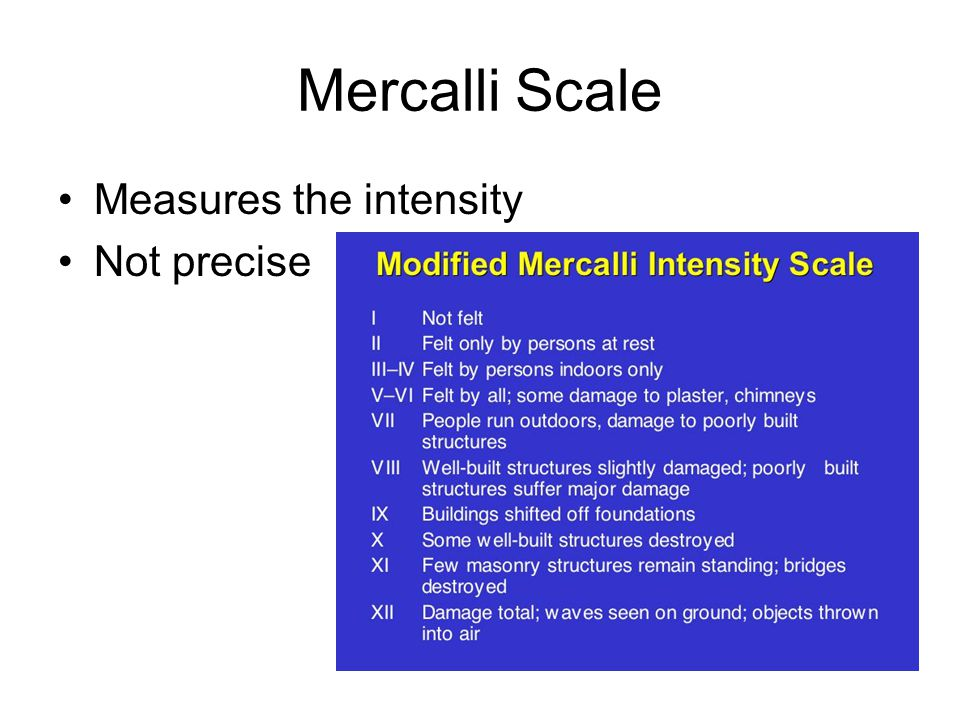 Mercalli Scale Measures the intensity Not precise