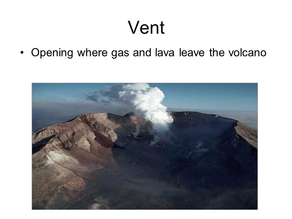 Vent Opening where gas and lava leave the volcano