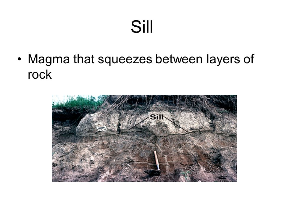 Sill Magma that squeezes between layers of rock