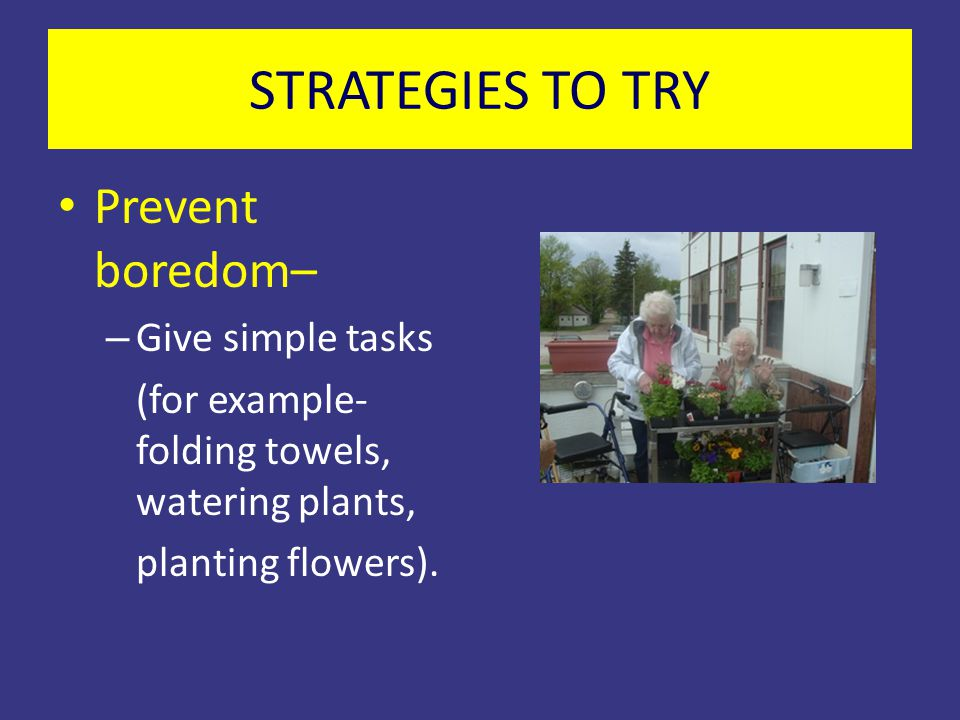 STRATEGIES TO TRY Prevent boredom– Give simple tasks