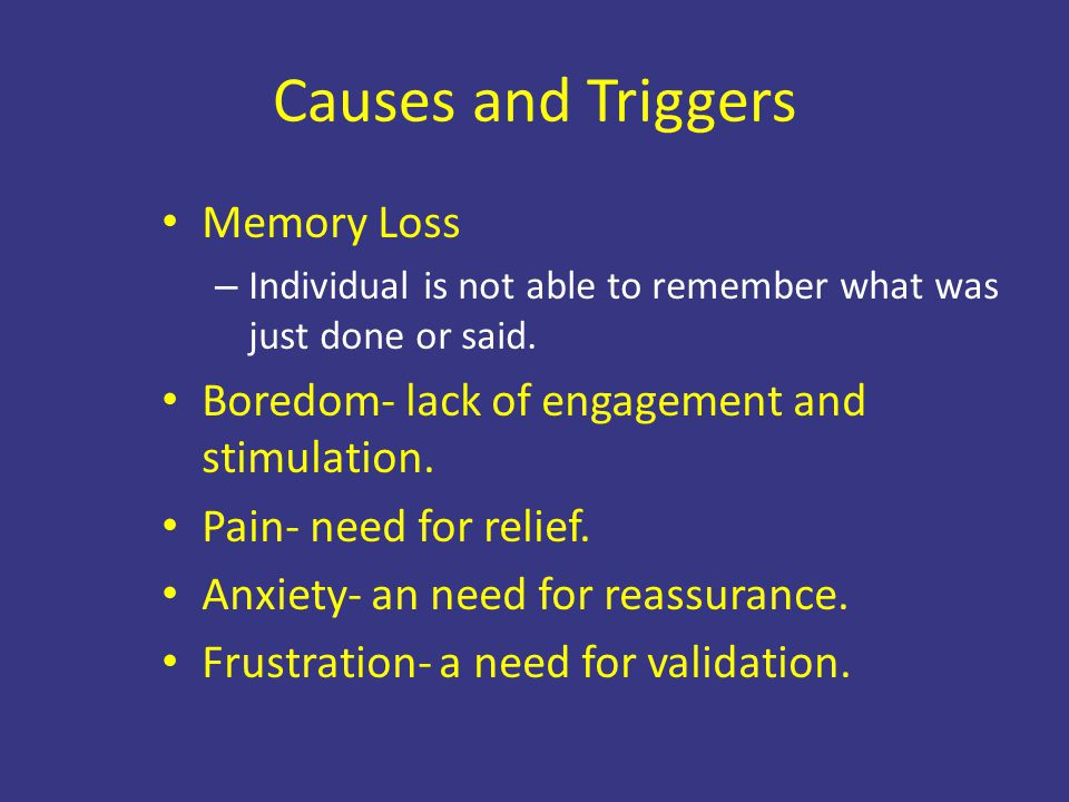 Causes and Triggers Memory Loss