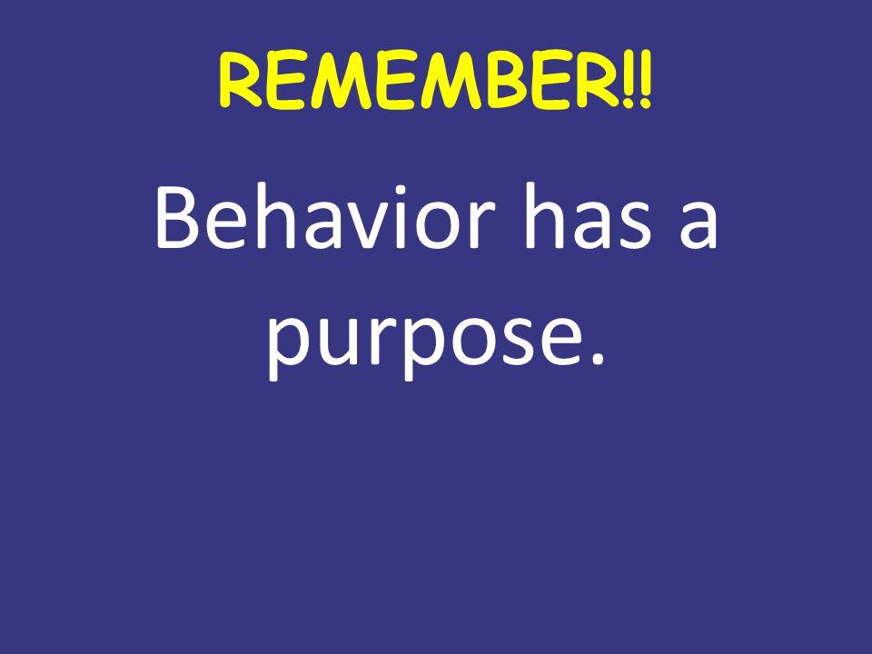 REMEMBER!! Behavior has a purpose.
