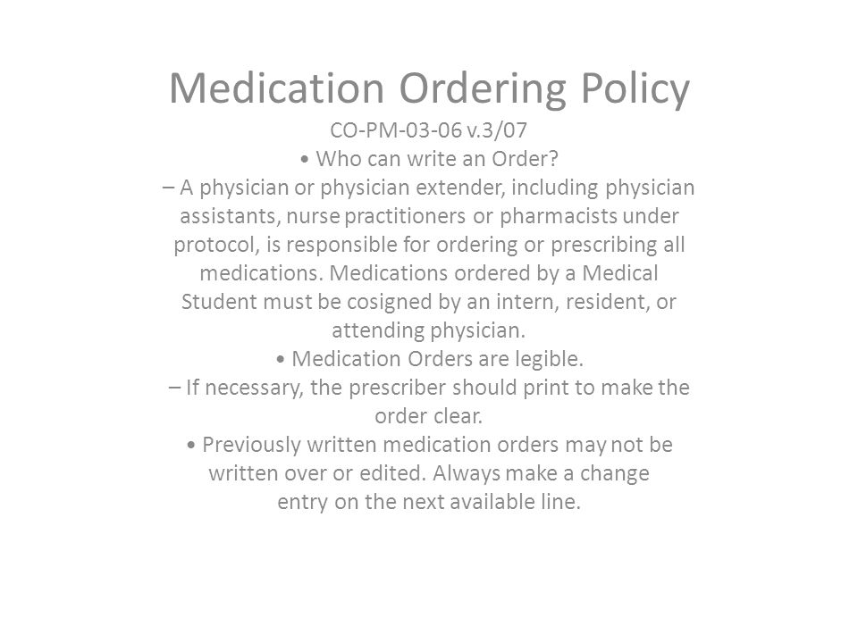 Medication Ordering Policy