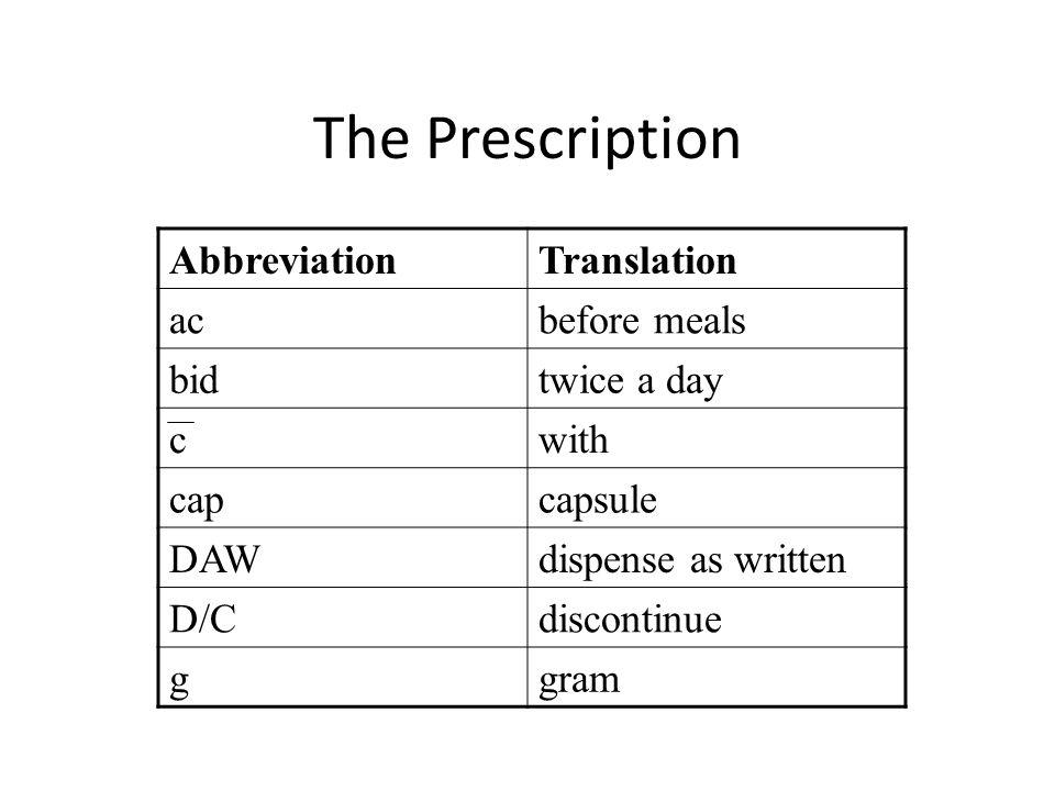 The Prescription Abbreviation Translation ac before meals bid