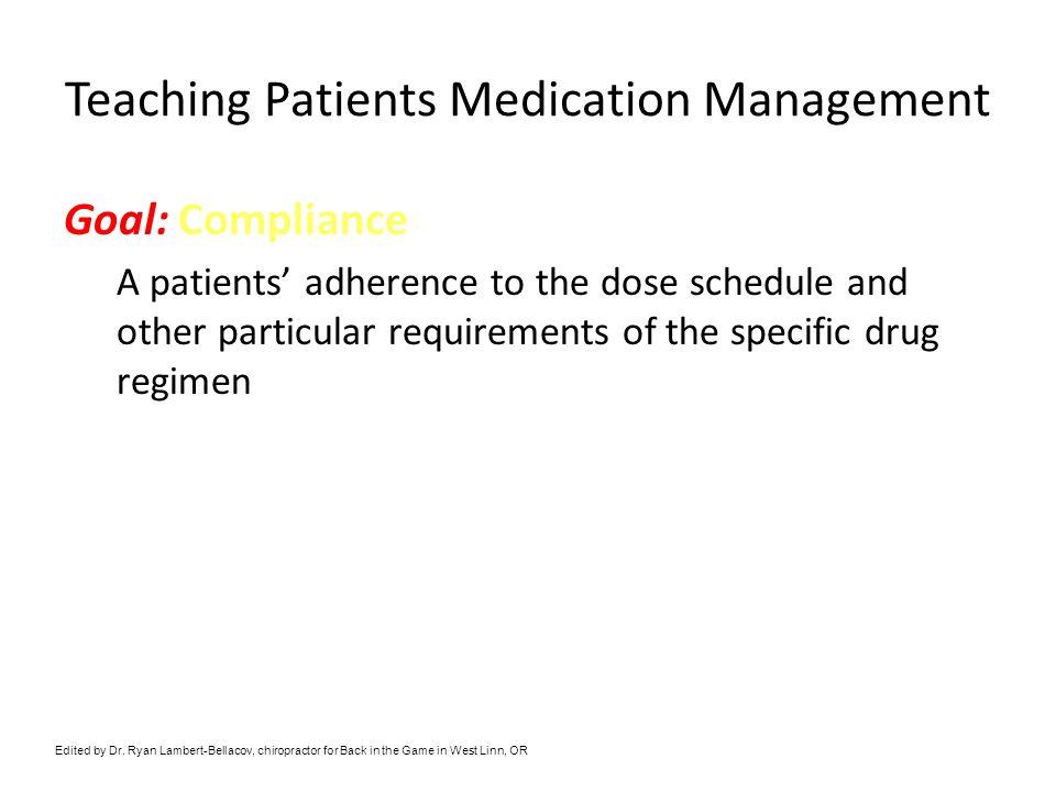 Teaching Patients Medication Management
