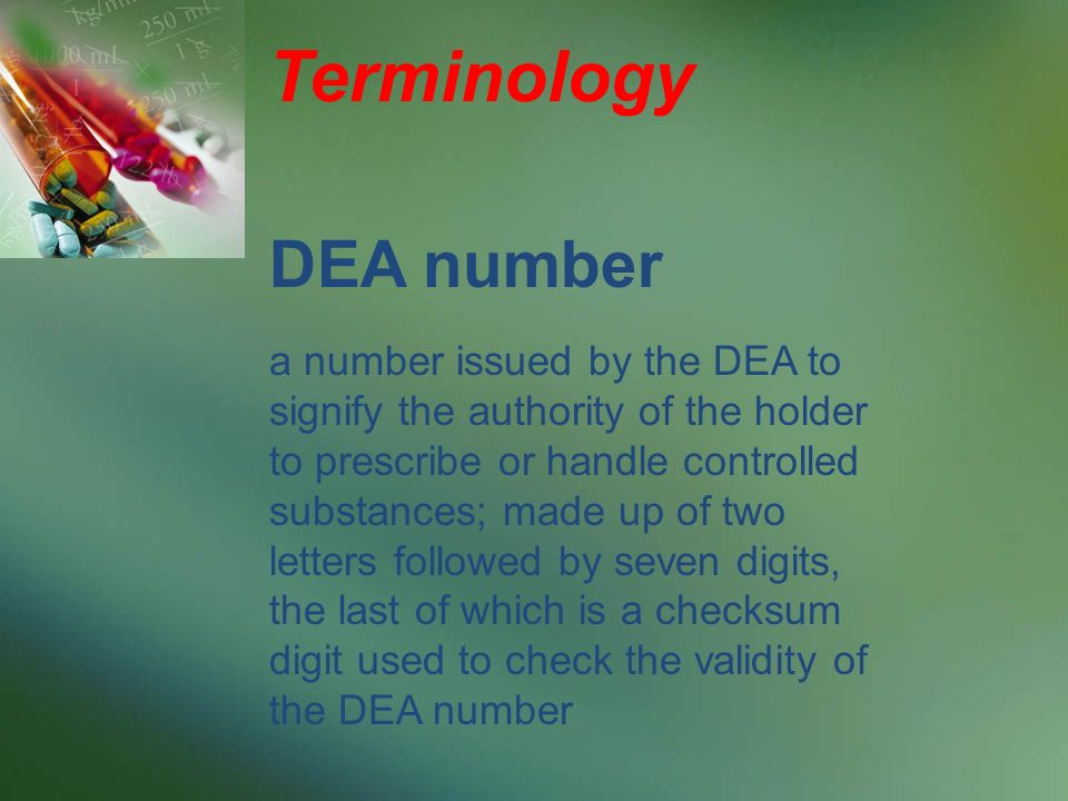 Terminology DEA number