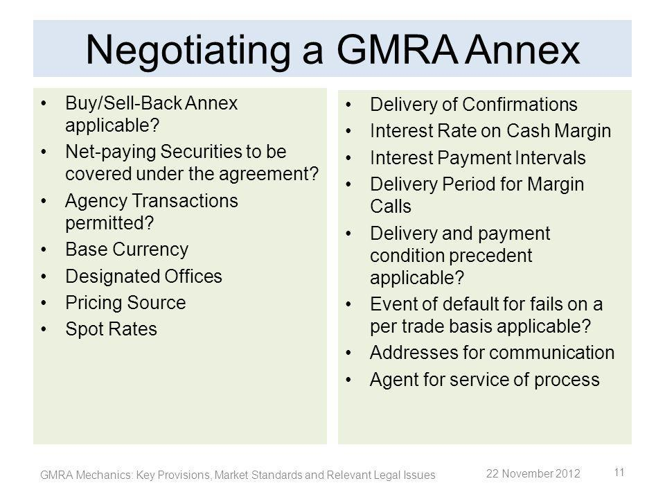 Negotiating a GMRA Annex