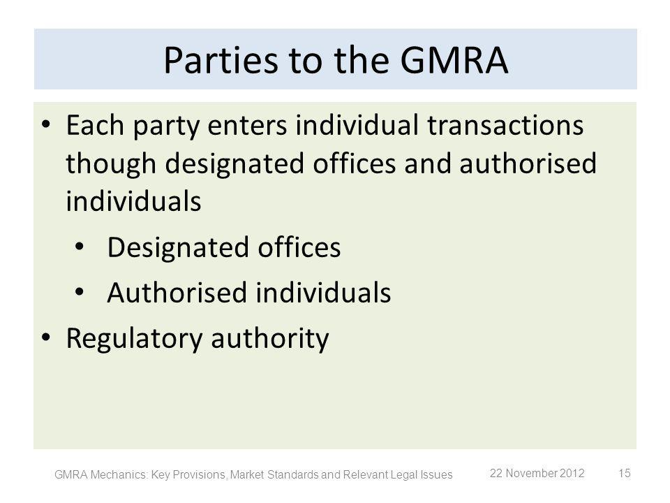 Parties to the GMRA Each party enters individual transactions though designated offices and authorised individuals.