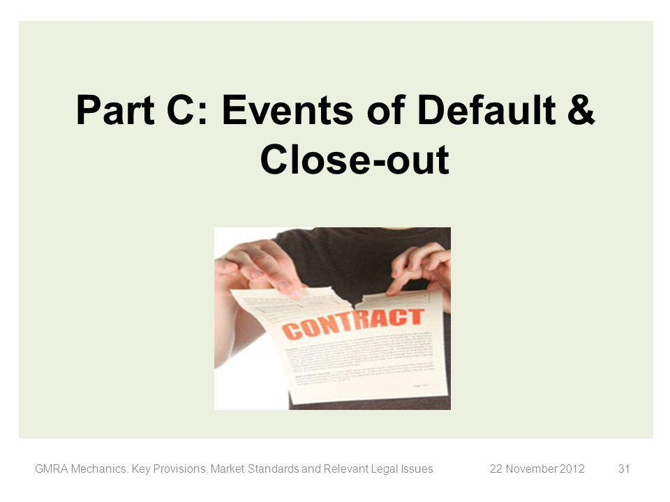 Part C: Events of Default & Close-out