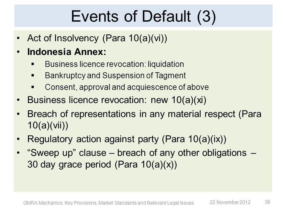 Events of Default (3) Act of Insolvency (Para 10(a)(vi))