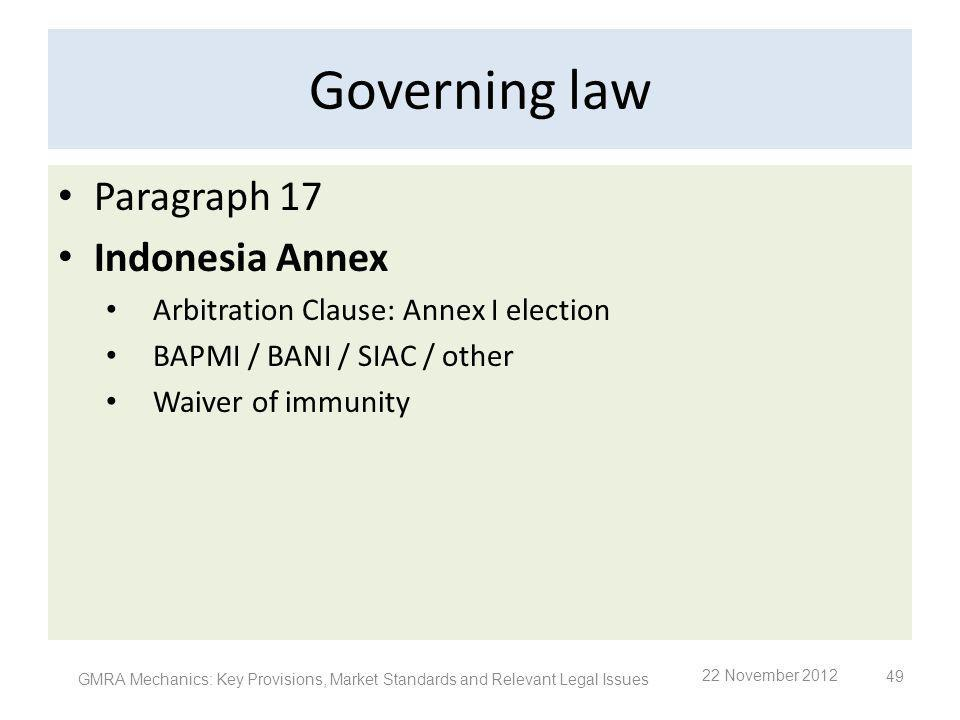 Governing law Paragraph 17 Indonesia Annex