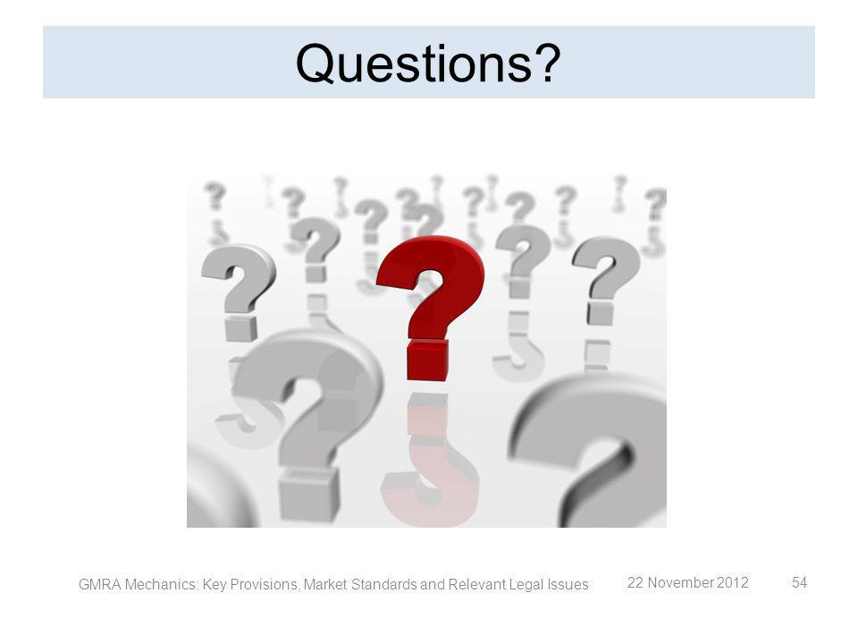 Questions. GMRA Mechanics: Key Provisions, Market Standards and Relevant Legal Issues.