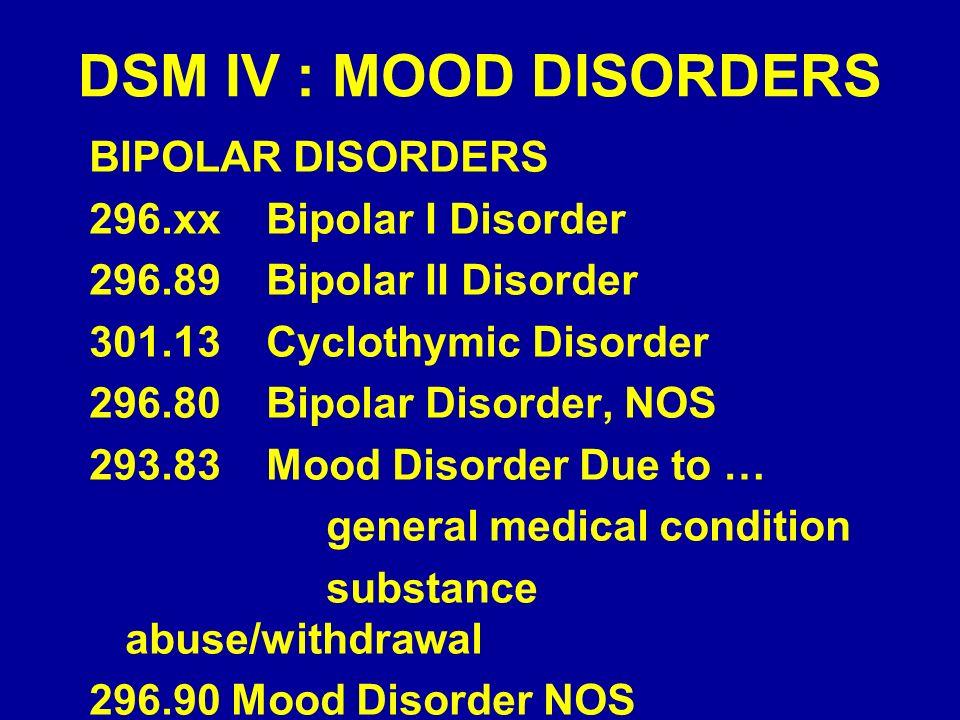 DSM IV : MOOD DISORDERS BIPOLAR DISORDERS 296.xx Bipolar I Disorder