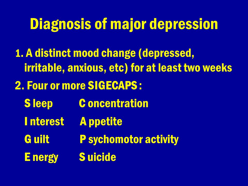 Diagnosis of major depression
