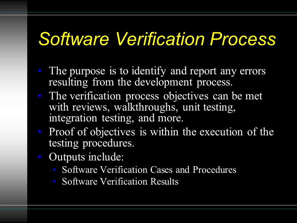 Software Verification Process