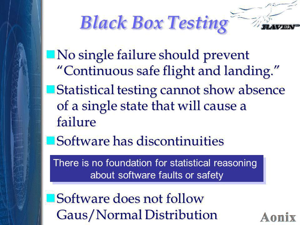 Black Box Testing No single failure should prevent Continuous safe flight and landing.