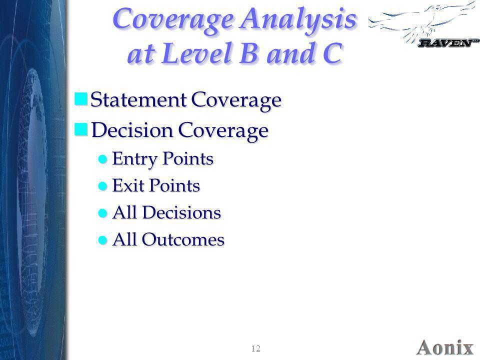 Coverage Analysis at Level B and C