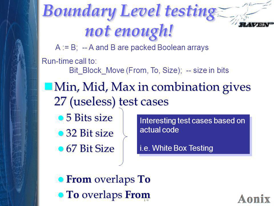 Boundary Level testing not enough!