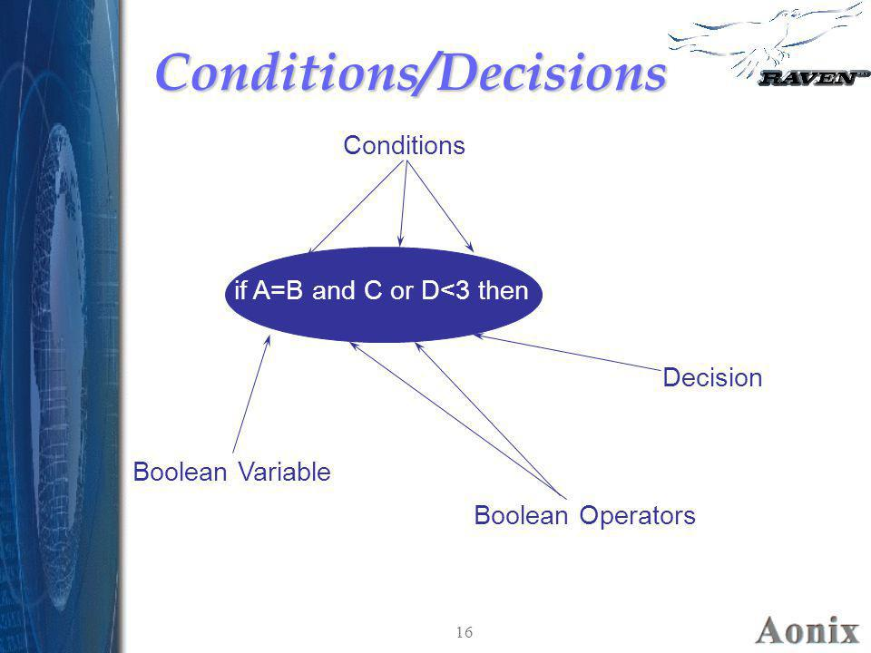 Conditions/Decisions