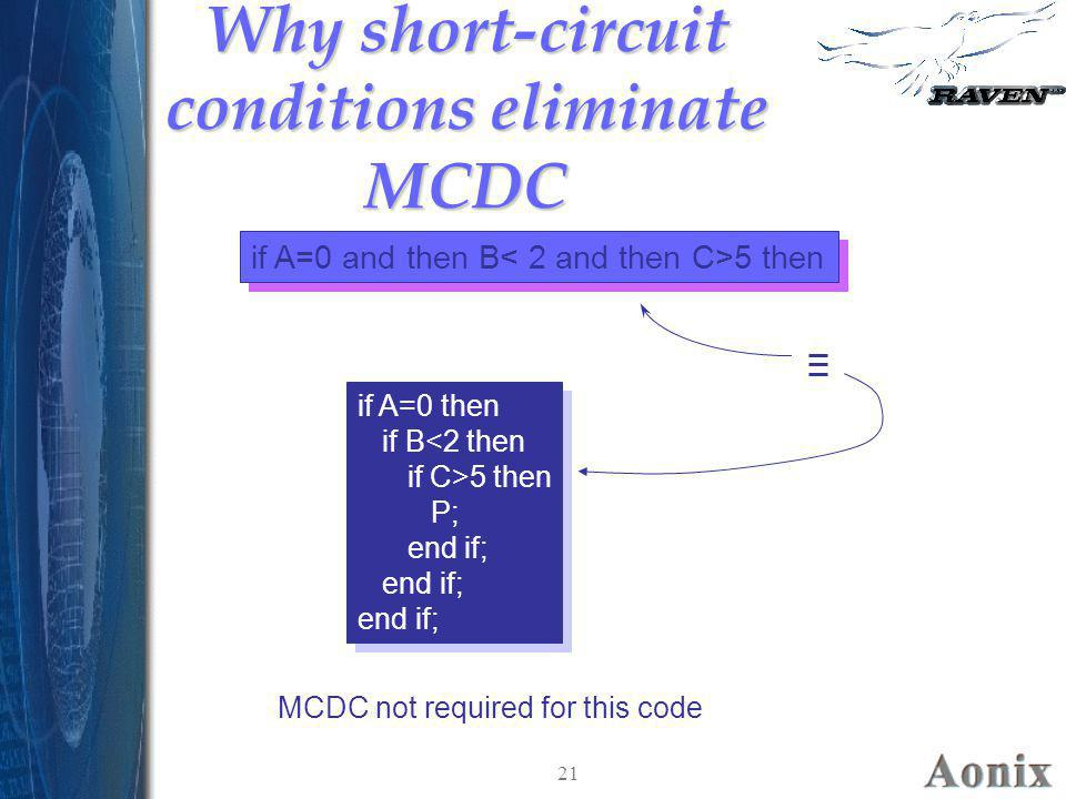 Why short-circuit conditions eliminate MCDC