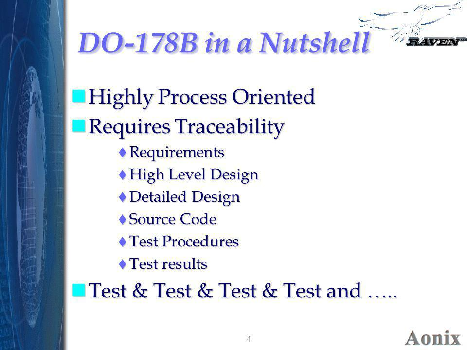 DO-178B in a Nutshell Highly Process Oriented Requires Traceability