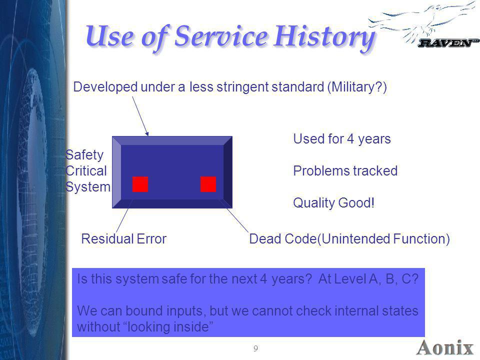 Use of Service History Developed under a less stringent standard (Military ) Used for 4 years. Problems tracked.