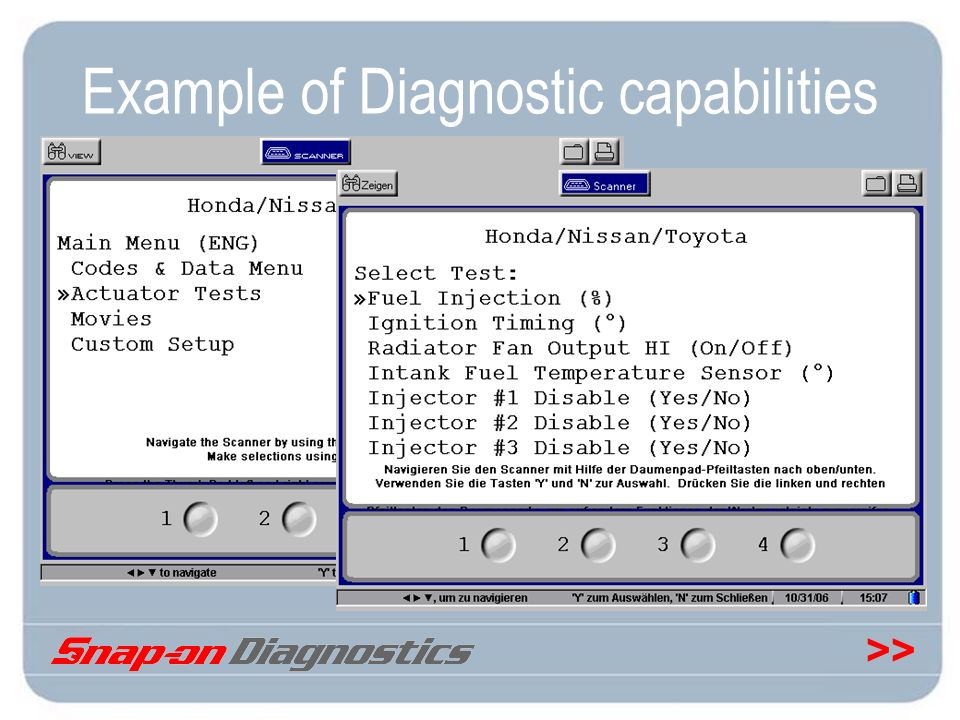 Example of Diagnostic capabilities