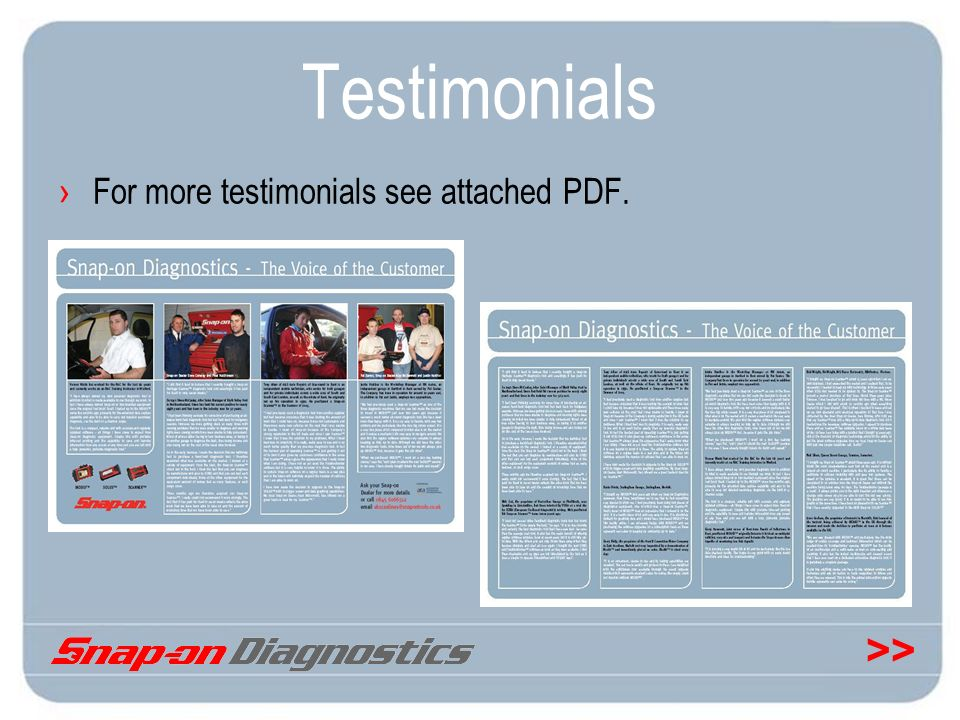 Testimonials For more testimonials see attached PDF.