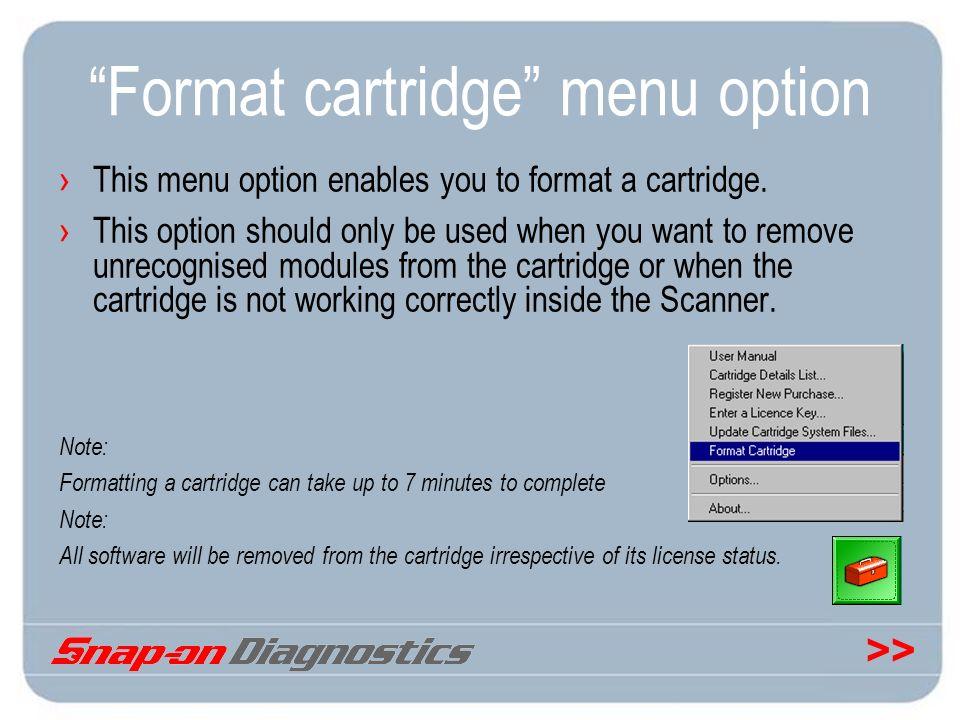 Format cartridge menu option