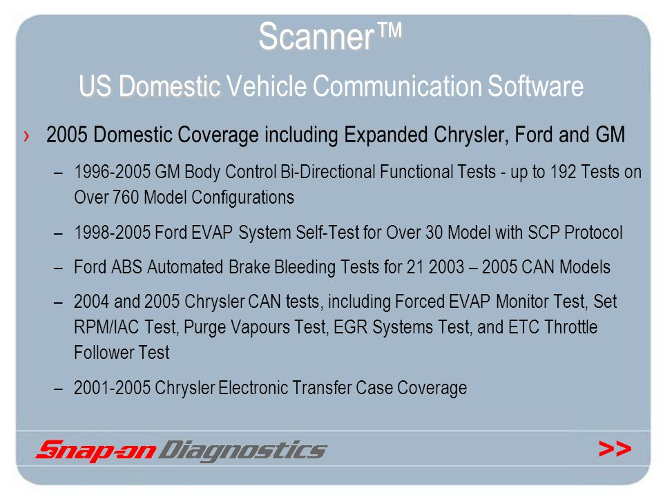 Scanner™ US Domestic Vehicle Communication Software