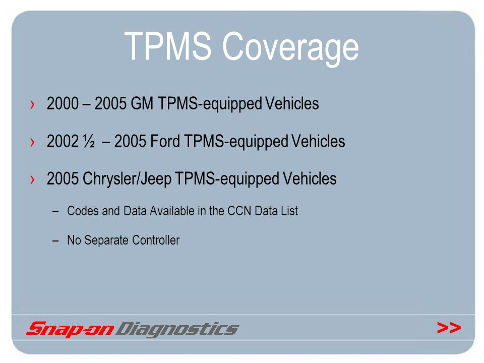 TPMS Coverage 2000 – 2005 GM TPMS-equipped Vehicles