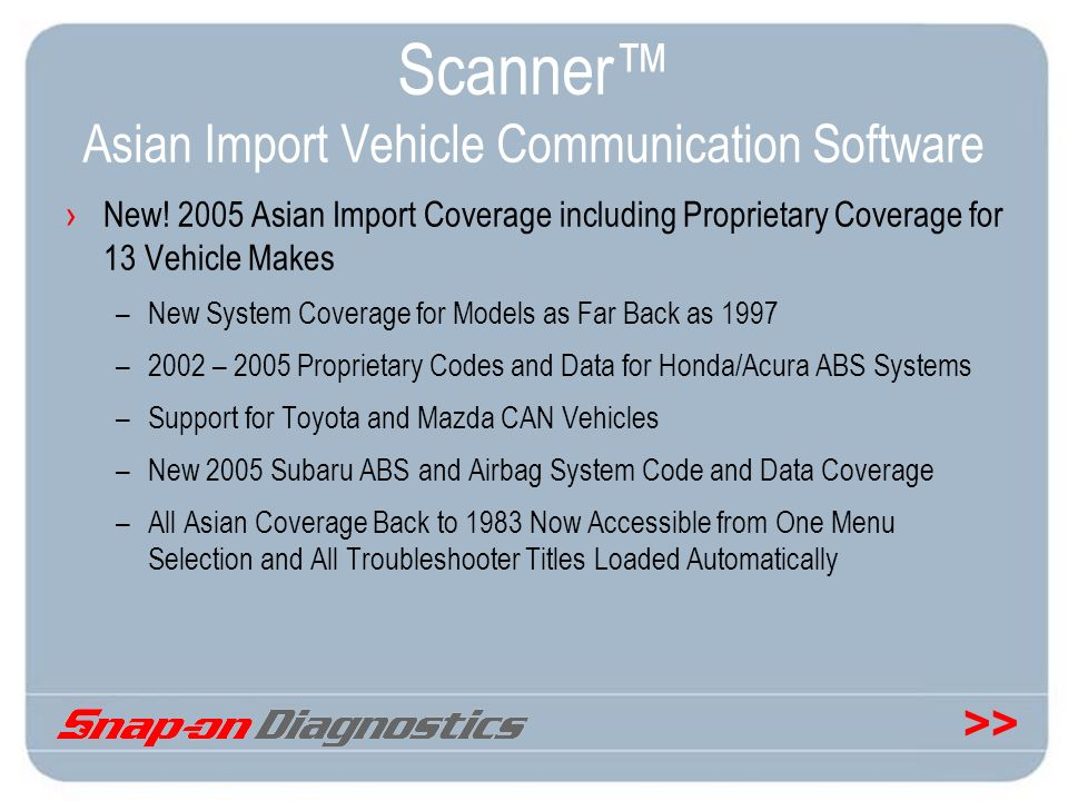 Scanner™ Asian Import Vehicle Communication Software