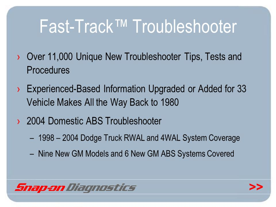 Fast-Track™ Troubleshooter
