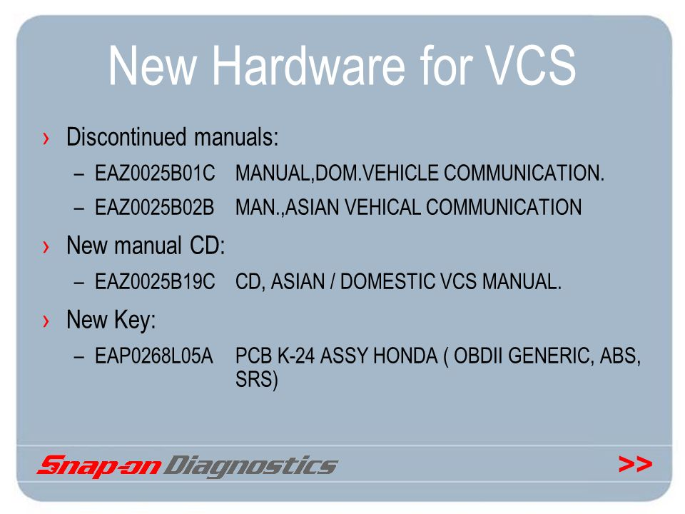 New Hardware for VCS Discontinued manuals: New manual CD: New Key: