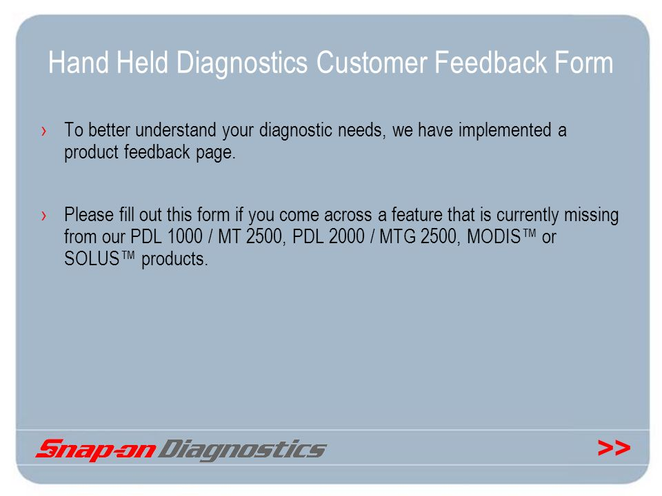 Hand Held Diagnostics Customer Feedback Form