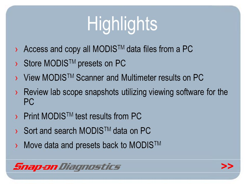 Highlights Access and copy all MODISTM data files from a PC