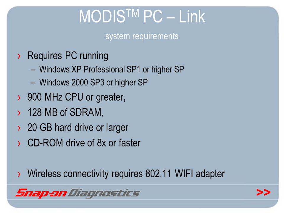 MODISTM PC – Link system requirements